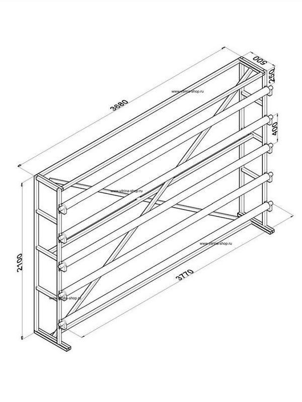 Стенд для линолеума 3,5 м х 5 рулонов односторонний