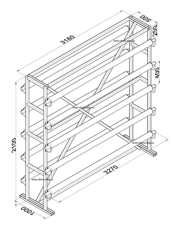 Стенд для линолеума 3 м х 10 рулонов двухсторонний