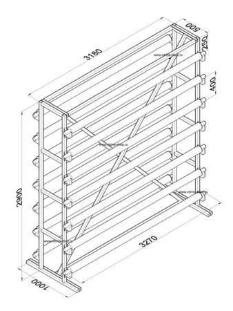 Стенд для линолеума 3 м х 14 рулонов двухсторонний