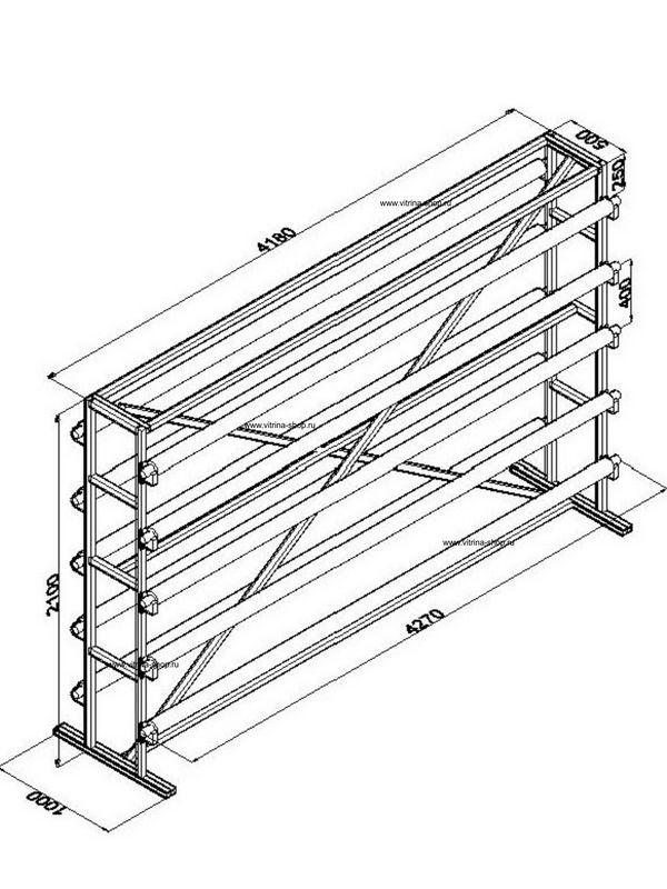 Стенд для линолеума 4 м х 10 рулонов двухсторонний