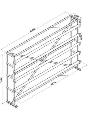 Стенд для линолеума 4 м х 5 рулонов односторонний