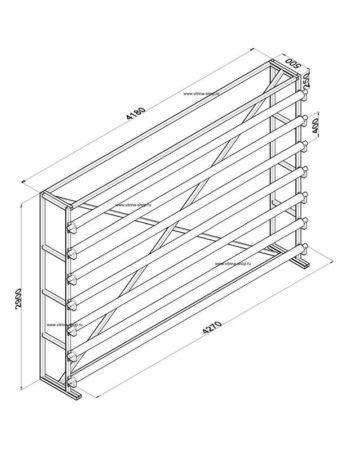 Стенд для линолеума 4 м х 7 рулонов односторонний